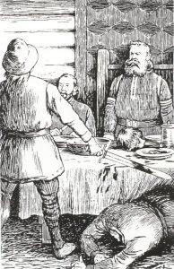 Asbjørn hogger hodet av Tore Sel.(Ill. Theodor Kittelsen)