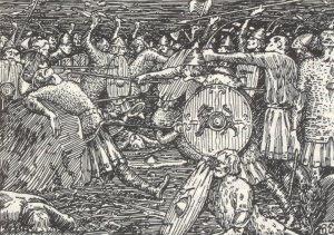Olav fell i Slaget på Stiklestad 1030. (Ill Halfdan Egedius, Olav den helliges saga)