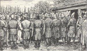 Olav må gå gjennom Erling sin manngard når han kjem ut av kyrkja på Avaldsnes. (Ill. E Werenskiold- Olav den Helliges saga)