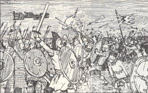 Slaget på Blodheia. Ill. Erik Werenskiold