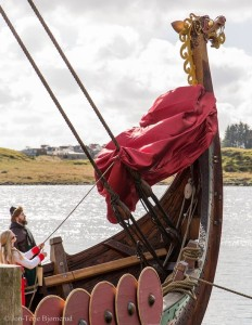 April 23. 2016 . The dragonhead is uncovered at Avaldsnes. Draken is now ready to set sail for America. (Video of the Dragonhead Ceremony at Avaldsnes)