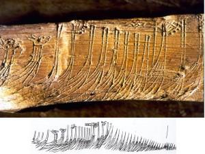 Skipsristning fra Bryggen i Bergen Ristningen kan være en øyenvitne skildring av Håkon Håkonssons flåte i Bergen, 1233. Håkon har innkalt Skule jarl til forhandlinger, og har stilt opp skipene sine mens han venter på jarlen. Vi ser to drakeskip og flere skip med skipsfløyer i stavnen.