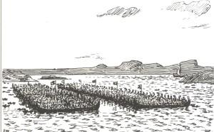 Slaget i Hafrsfjord.( Ill. E. Werenskiold)